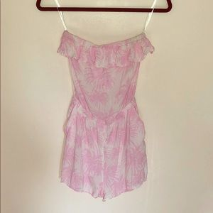 Pink and white palm trees romper